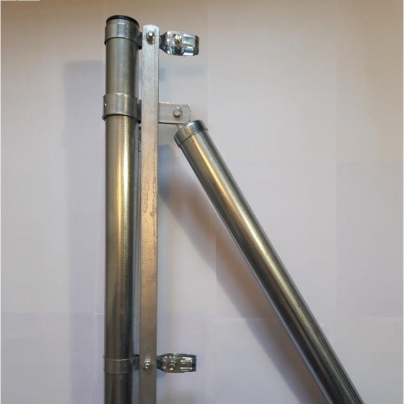 Poste de comienzo o final, para malla simple torsión de 1,5m. alto. 1,90m. longitud
