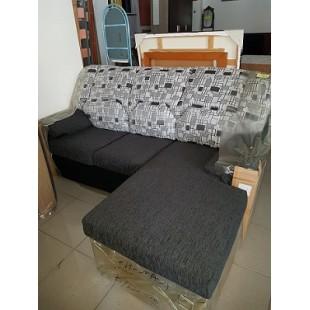 Sofá chaiselongue nueva, medida 1,95 cm, tapizada en dos colores, antracita-estampado geométrico, tejido de gran calidad, dese