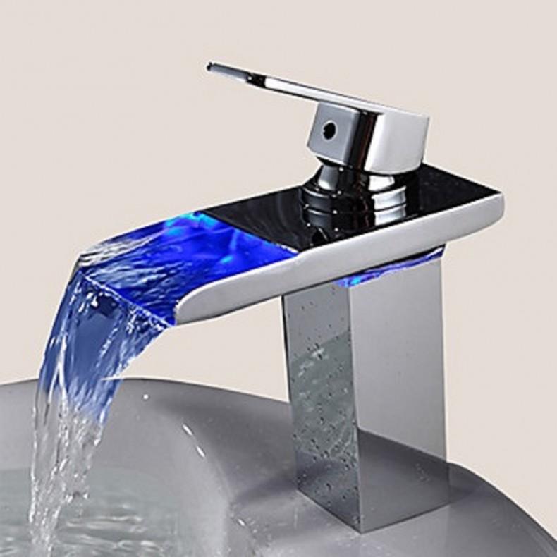 Grifo de Baño Moderno Sprinkle®  en Acero Inoxidable efecto Cascada - Independiente - De Pared - dos Orificios